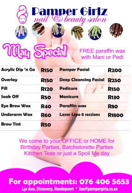 Pamper girlz nail beauty salon roodepoort health and for Acrylic nails salon prices