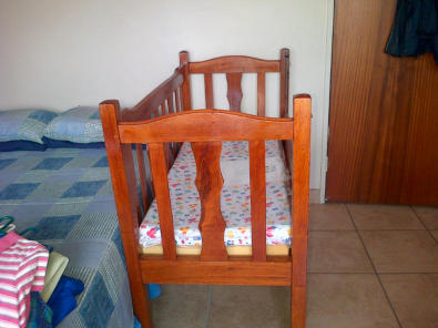 Solid wooden cot with brand new matrass