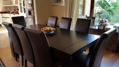 Coricraft dining room table and 8 parsons chairs for Dining room tables cape town