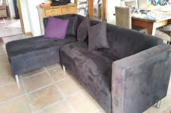 Purple L Shape Leather Couch And Black Suede L Shape Couch