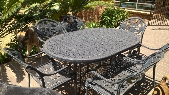 cast iron patio set green 7 piece garden furniture