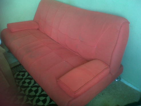 Sleeper Couch 2 Seater Red Fabric Moot Lounge