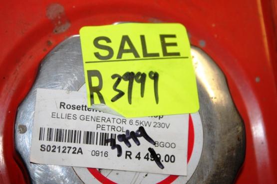 Ellies Generator 6.5KW S021272A #Rosettenvillepawnshop