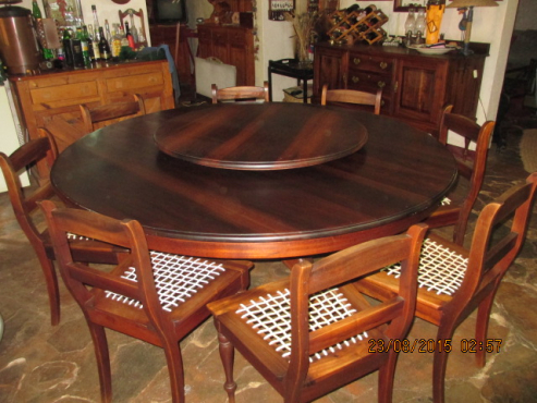 Classical Fechter Stinkwood Dining Room Table 8 Chairs