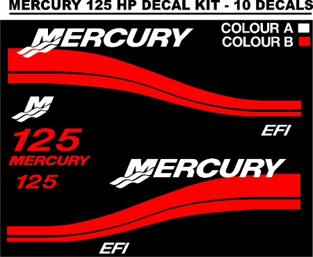Mercury 125 Hp Outboard Motor Cowl Decals Stickers