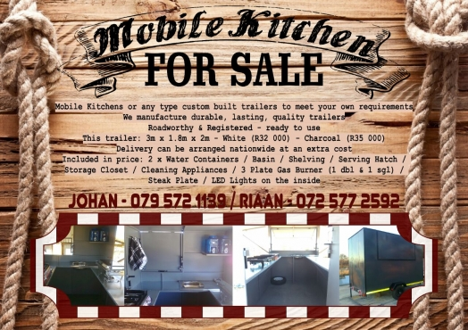 Mobile kitchen for sale brand new east rand trailers for Kitchen bins cape town