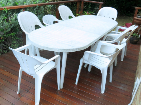 White plastic garden table and 8 chairs garden furniture 63614856 junk mail classifieds Home furniture rental cape town