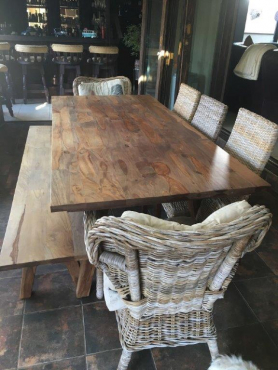 Wooden Dinning Room Table Bench And 5 Chairs For Sale East Rand Diningr