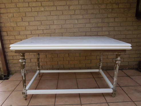 Marble top six seater dining room table from ligne kloof for 6 seater dining room table