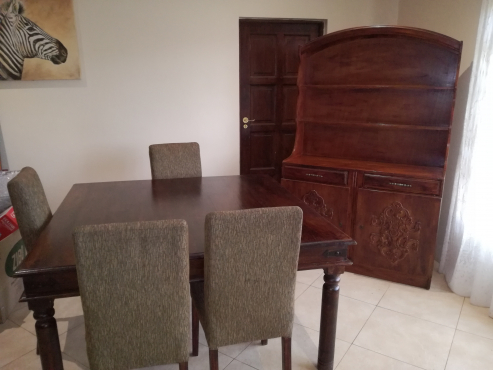solid teak wood dining room suite with buffet cabinet single bed