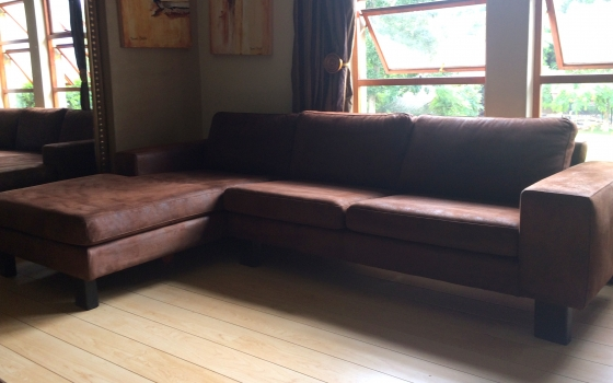 Weylandts Genuine Leather Brown Suede Corner L Shape Couch