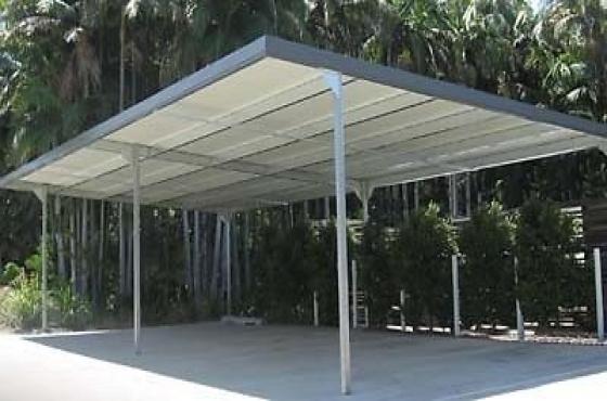 Shadeports carports installation zozo huts storage rooms for Carport with storage room