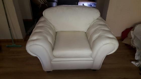 leather upmarket chesterfield style full grain white suite full