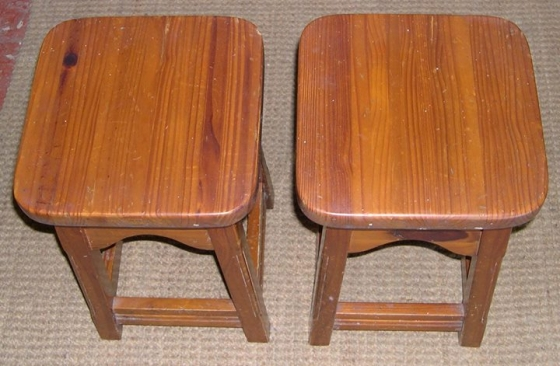 TWO PINE STOOLS.