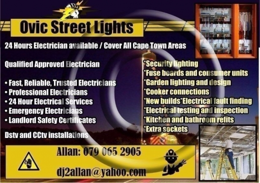 24 Hours Electrician available / Cover All Cape Town Areas 0721880151