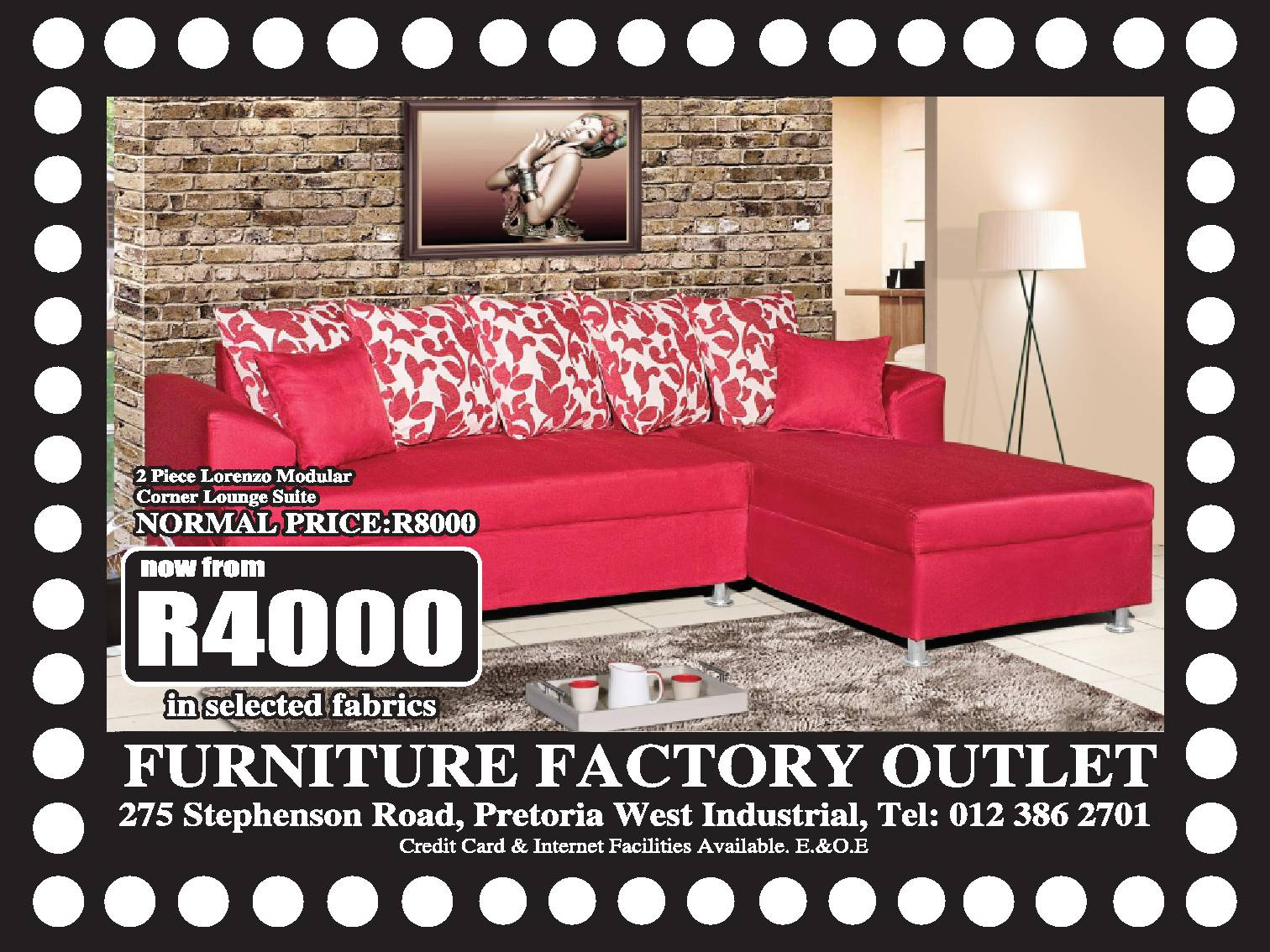 Furniture factory outlet pretoria junk mail business for Furniture factory outlet