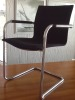 REDUCED AGAIN - Chairs Cantilever Chrome Steel Frame/Black Cloth
