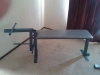 Pull up machine, gym bench and weight plate stand