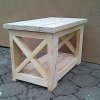 Coffee table Chunky Cottage series 800 with crosses - Raw