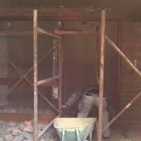 Tambotie/Merantie? wooden front door with side gla