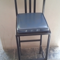 2 narrow steel padded seat bar stools/chairs