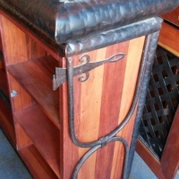 OFFICE SET - 4 PIECE .ITALIAN STYLE SOLID WOOD WITH TWISTED IRON FRAME