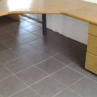 Oak L shape desk with pedestal and optiplan cabinet