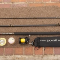 SHIMANO TLD 20/40,EXAGE 6-8ONZ 14FT SURF ROD,BRAID AND LINE AS NEW FOR SALE.R2150.ONCO