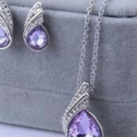 platinum plated water drop jewellery set