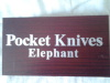 Pocket Knife in box and Big Five Card Pack, and Silver Elephant Bracelet.
