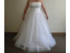 New Full Length Pure White Strapless Wedding Dress