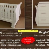 SPECIAL!!! Brand New Raw Wood Sleigh Cot