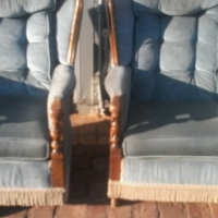 Two vintage Teak Arm Chairs.R1400 each