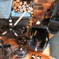 PETROL BLUE BUGABOO CAMELEON3 PRAM + MAXI COSI CAR SEAT & EXTRAS