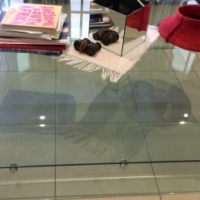 Beautiful Solid Glass Table & 3 Glass Side Tables For Sale - Owner relocating