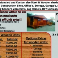 Wooden Wendys and Steel Sheds, steel windows and doorframes! roof sheets,FREE,