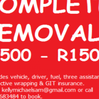 Complete furniture removals from R500 to R1500