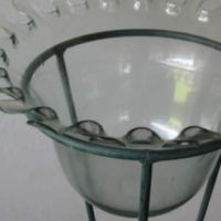 Glass Vase in metal stand