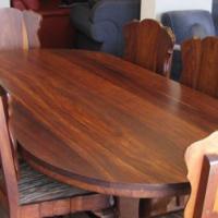 6 sitplek Tambotie hout eetkamerstel