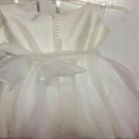 cream tulle and satin flower girl dress