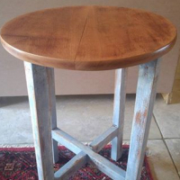 Up-Cycled side table with distressed legs