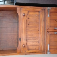Beautiful antique wall unit TV stand.