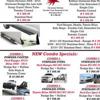 Ford Ranger, Eco, Hilux, Isuzu & Fortuner Nudge Bars, Rollbar, Side Steps Ect