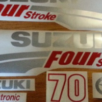 Suzuki 70 HP motor cowl stickers decals sets
