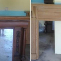Both mirror and mantel piece. Width 1,5m Hight 1,3m