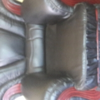 SINGLE COUCH SEMI LEATHER  BLACK