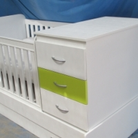 Brand new baby wooden standard cot and chest of drawers with 4 drawers white colour to swap for a P4