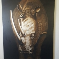 """RHINO PAINTING """"2000 X 1500""""  SWAP / TRADE for W.H.Y"""