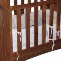 // Solid Kiaat Sleigh Baby Cot 3 in 1 - Cot/ Toddler/ Day-Bed //