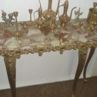 Brass and onyx marble table set for sale